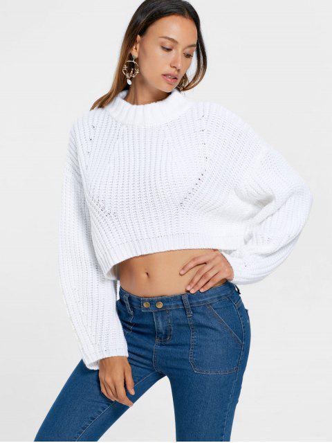 Suéter con cuello de manga batwing - Blanco XL Mobile