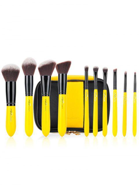 10pcs sistema de cepillo del maquillaje de dos tonos - Amarillo  Mobile