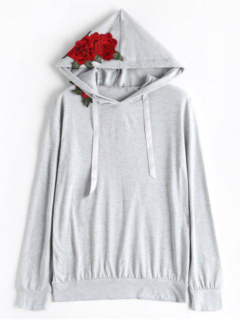 Kapuzenpulli mit Blumen-Patchwork und Tunnelzug - Grau S Mobile