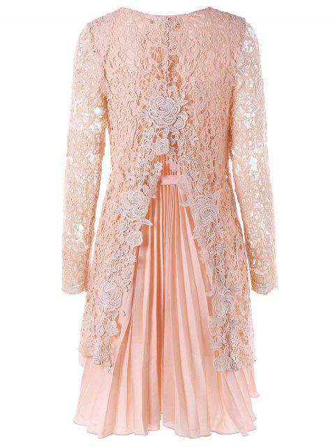 Manga larga de alta baja mini encaje vestido plisado - Rosa L Mobile