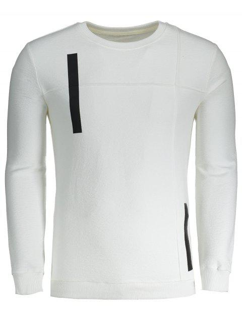Sweat-shirt Applique Homme en Coton - Blanc L Mobile