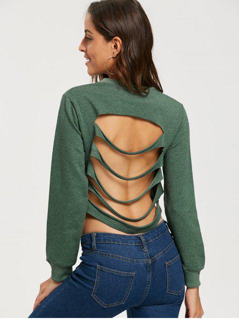 Geripptes Rückenfreies Crop Sweatshirt - Armeegrün 2XL Mobile