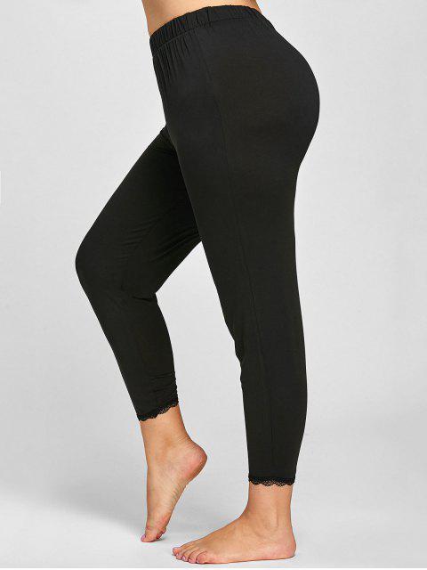 womens Plus Size Lace Trim Leggings - BLACK XL Mobile