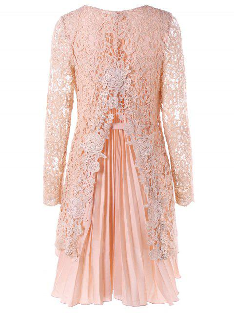 unique Long Sleeve High Low Mini Lace Pleated Dress - PINK L Mobile