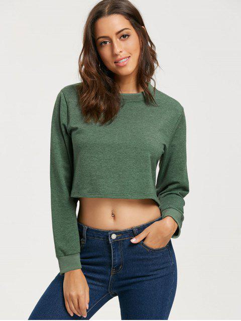 online Ripped Open Back Crop Sweatshirt - ARMY GREEN M Mobile