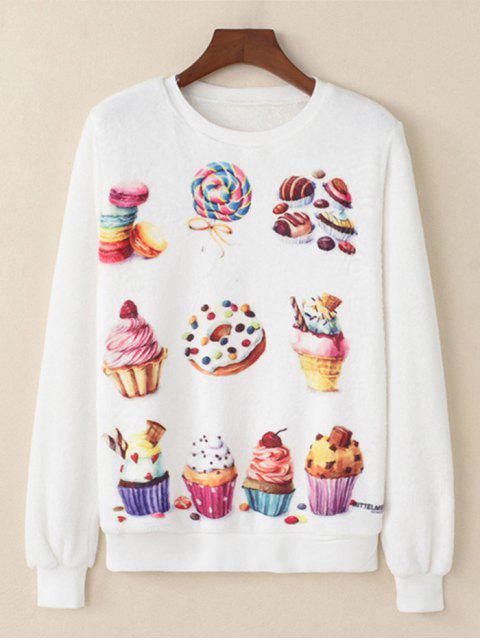Dessert gedrucktes flauschiges Sweatshirt - Weiß L Mobile