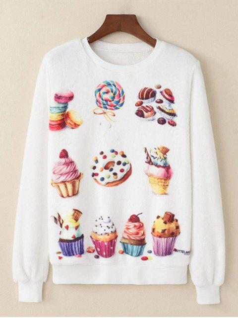 shops Dessert Printed Fluffy Sweatshirt - WHITE L Mobile