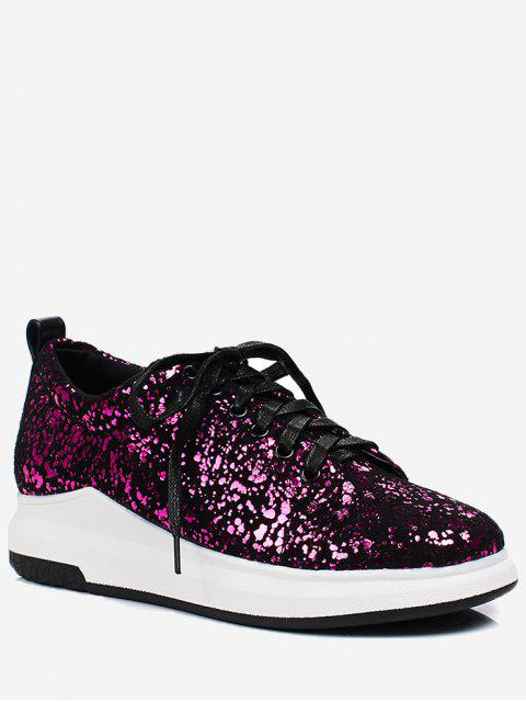 womens Sequined Low Heel Sneakers - ROSE RED 37 Mobile