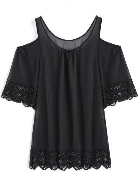 Robe de Survêtement à Epaules Froides et en Crochet - Noir L Mobile
