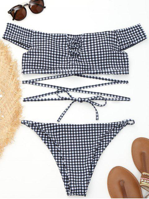 affordable Off Shoulder Plaid Strappy Wrap Bikini - PLAID M Mobile