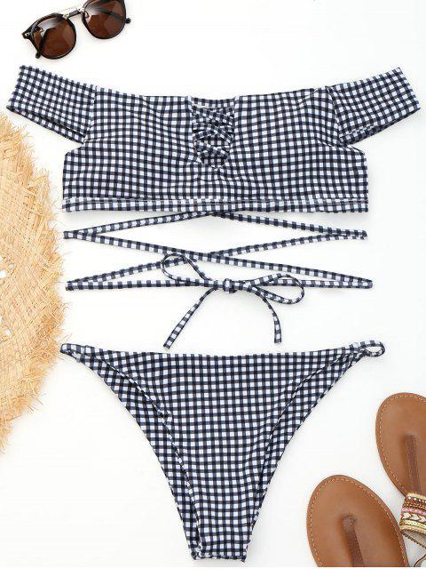 affordable Off Shoulder Plaid Strappy Wrap Bikini - PLAID M Mobile
