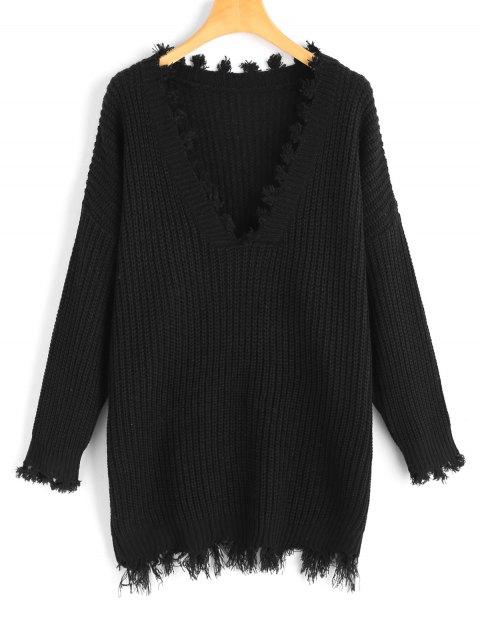 Übergröße Pullover mit Fransen und V Ausschnitt - Schwarz Eine Größe Mobile