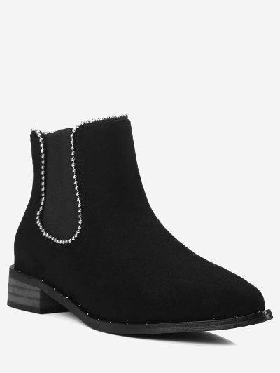 Cork Heel Bead Ankle Boots - Black 42
