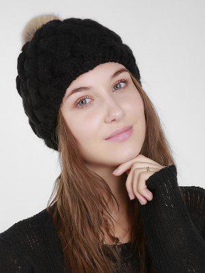 Faux Fur Plain Weaving Knit Hat - Black