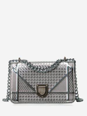 Geometric Quilted Chain Crossbody Bag