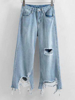 Frayed Hem Distressed Wide Leg Jeans