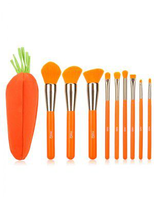 Conjunto de cepillo de maquillaje 9pcs con bolsa de zanahoria