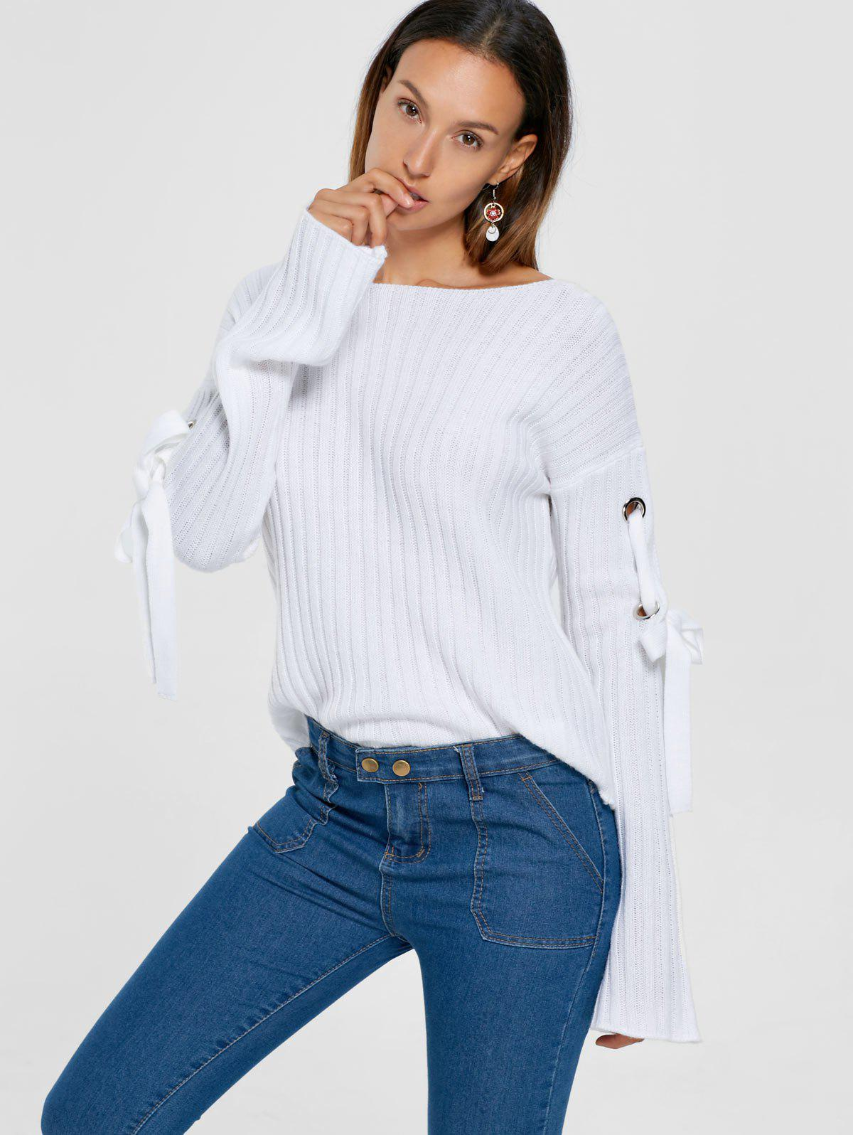 Ribbed Lace Up Drop Shoulder Sweater 222626701
