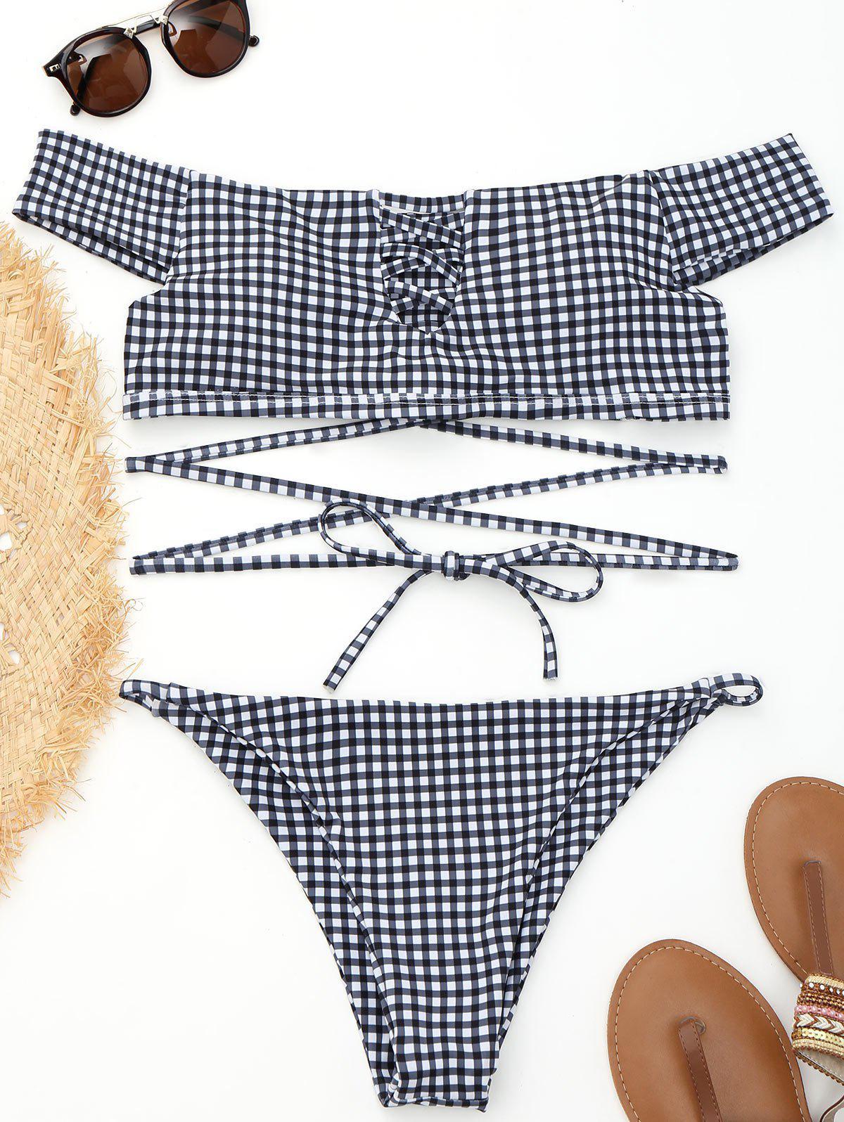 Off Shoulder Plaid Strappy Wrap Bikini 229158501