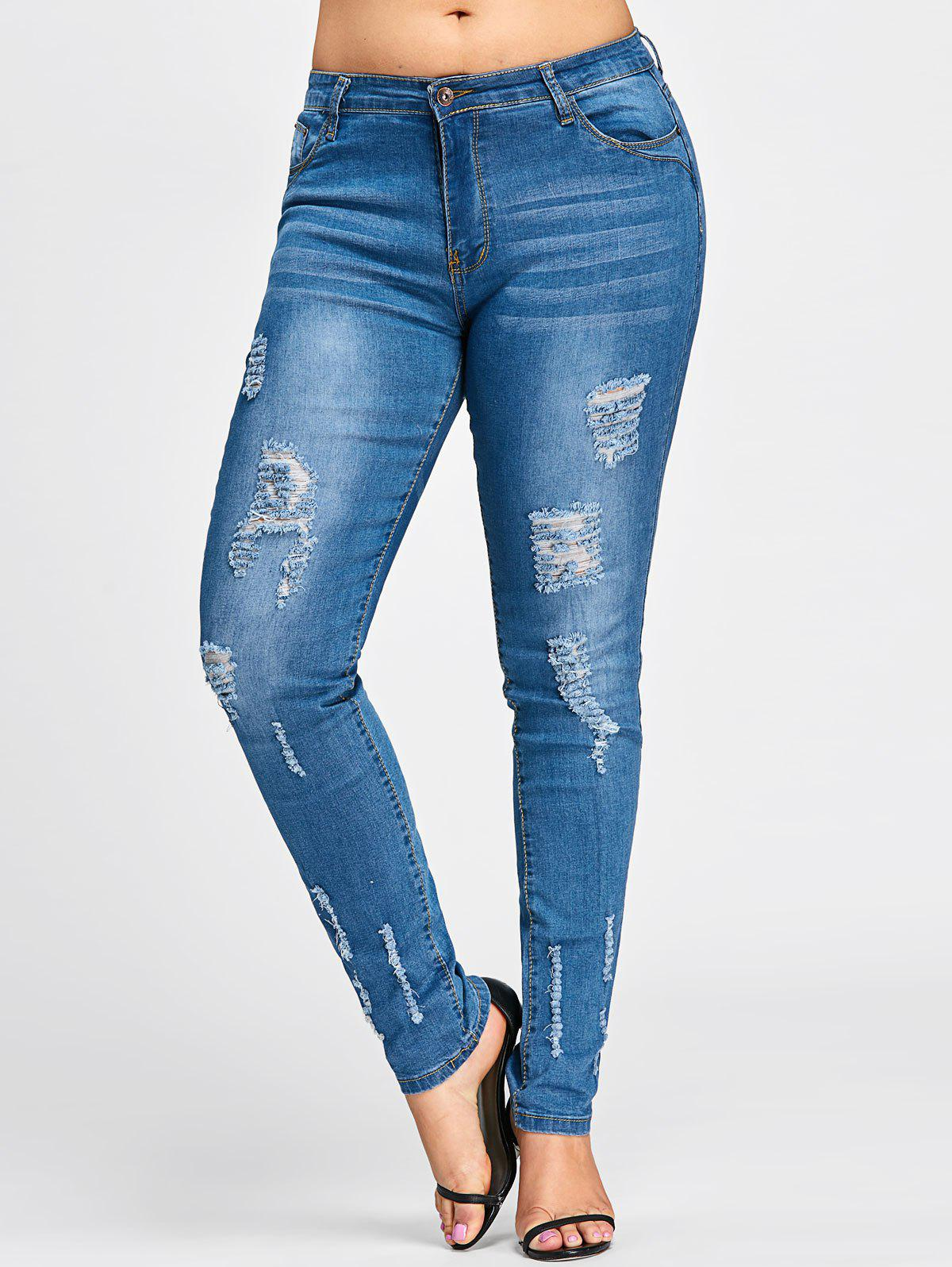 Jeans de lavage dédié à la taille grand taille