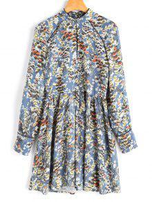 Robe A Line Florale à Manches Longues - Floral S