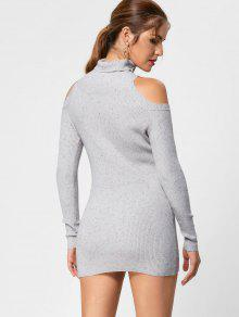 Turtleneck Cold Shoulder Jumper Dress