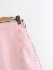 18a74d52d653 28% OFF] 2019 Side Zip Faux Leather A Line Mini Skirt In PINK | ZAFUL