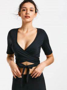 2018 cropped plunging neck sporty wrap top in black m zaful