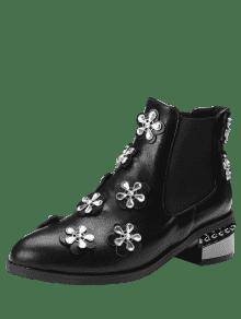 Ankle Rhinestone Elastic Band Boots - BLACK Discount Very Cheap aAoaY