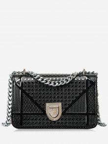حقيبة كروسبودي مبطنة مع سلسلة مزينة بأشكال هندسية - أسود