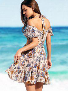197f0986f47 43% OFF  2019 Ruffles Halter Cut Out Floral Beach Dress In FLORAL ...