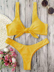 Bikini à Doigts Noués Rembourrés - Moutarde  L