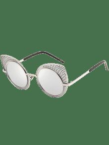 Anti UV Rhinestone Embellecido Gafas De Sol Gato - Plata