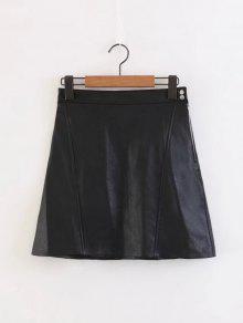 Falda Lateral De Cuero Falso Una Línea De Mini Falda - Negro Xs
