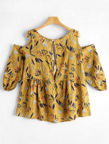 4a11afe6a7486f 23% OFF  2019 Cut Out Cold Shoulder Tiny Floral Blouse In GINGER