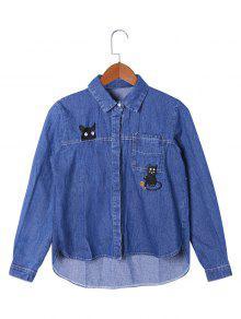 Veste Chemise Haut-Bas à Chaton Brodé - Bleu 2xl