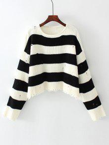 Suéteres Deshilachados Rayados De Gran Tamaño - Raya S
