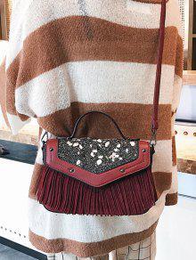 Fringe Stone Pattern Rivet Corssbody Bag