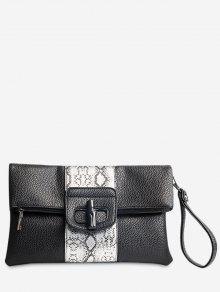 حقيبة كلتش مزينة بطبعة بألوان جامدة - أسود