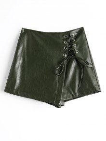 شورت تنورة رباط بجلد اصطناعي - الجيش الأخضر L