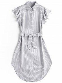 فستان مربوط مخطط كشكش الأكمام - شريط M