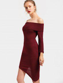 Off The Shoulder Asymmetric Vestido De Punto - Rojo Oscuro S