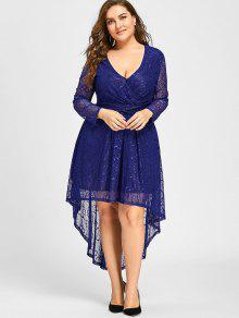 28% OFF] 2019 Plus Size Surplice Lace High Low Dress In BLUE | ZAFUL
