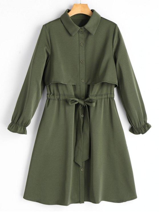 Robe Chemise Boutonnée à Ceinture à Manches Longues - Vert Armée  XL