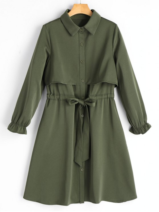 2019 Long Sleeve Belted Button Up Shirt Dress In ARMY GREEN L  1e8becfa1
