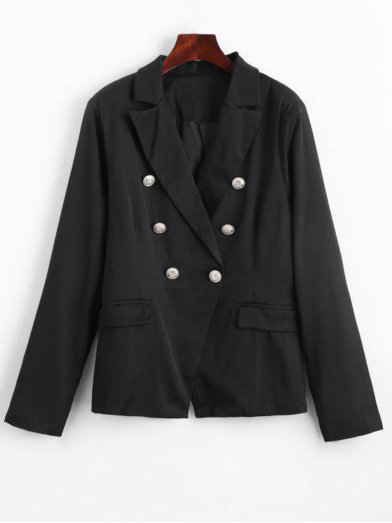 Blazer avec Fausses Poches à Boutons Ornés - Noir XL