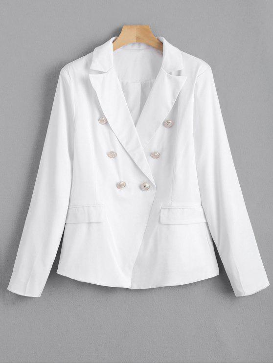 Faux Pockets Button Embellished Blazer - Blanco S
