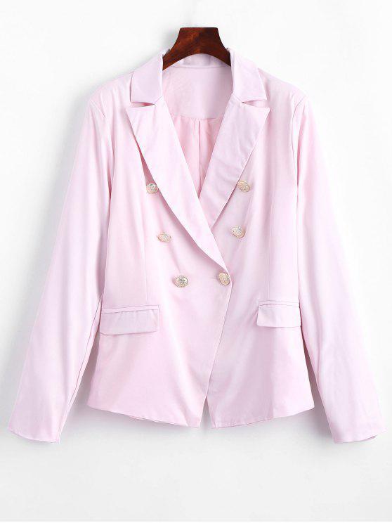Faux Pockets Button Embellished Blazer - Rosado L