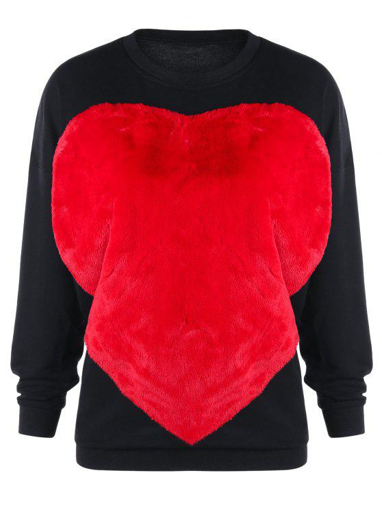 trendy Two Tone Fluffy Heart Sweatshirt - BLACK S