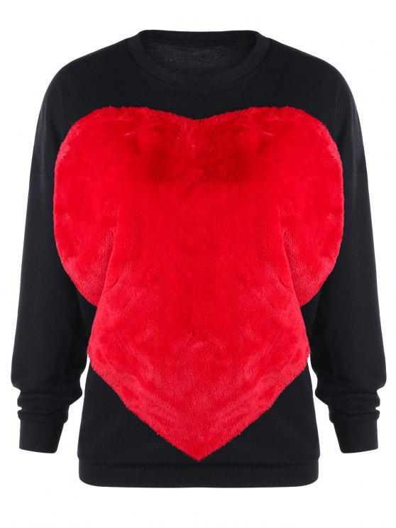 Flauschiges Sweatshirt mit Zwei Farben und Herz - Schwarz XL